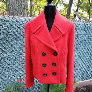 J Crew virgin wool red pea coat, size 10